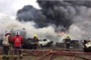 huge fire at scrapyard can be seen for miles