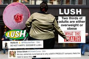 'go back to selling bath bombs' lush in hot water over 'fatphobic' social media posts about obesity