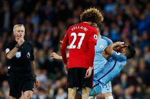 twitter trolls marouane fellaini hard after he's sent off for headbutting sergio aguero in the manchester derby