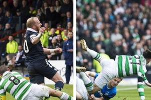 was celtic captain scott brown's tackle worse than rangers midfielder andy halliday's?