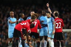marouane fellaini to miss manchester united's clash with swansea city after red card at man city