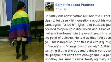 student horrified by mp 'gay comments'