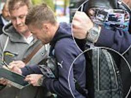 leicester city striker jamie vardy shows off £50,000 watch