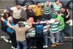 celtic fans stop traffic on derby road to celebrate 5-1 victory...