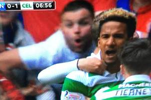 Football fans contact police after TV cameras appear to show Rangers fan aiming monkey gesture at Celtic FC star Scott Sinclair