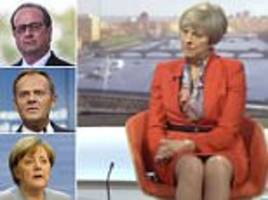 theresa may warns only 'strong' pm can face down the eu