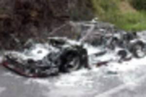 ferrari f40 burns to the ground in italy