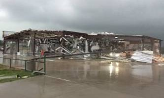 dodge dealership in texas gets wiped out by tornado, nobody was hurt