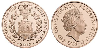 new £5 coins issued to celebrate windsor name centenary