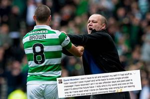 'what i did was wrong' pervert rangers yob regrets squaring up to celtic captain scott brown