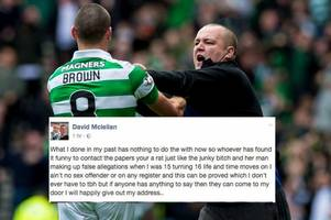 pervert rangers yob who confronted celtic skipper scott brown launches sickening attack on victims