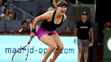 madrid open: 'inspired' eugenie bouchard beats maria sharapova