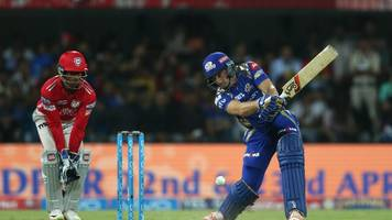ipl2017: mi 138/4 in 14.2 overs against kxip's 231 target