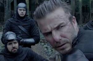 david beckham shares behind the scenes video of acting debut as he attends king arthur premiere with son brooklyn