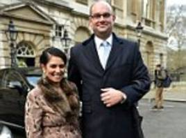 priti patel's husband is paid £25,000 to run her office