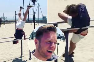 olly murs just did the most painful thing imaginable on a metal pole