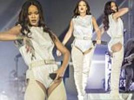 rihanna wears leotard with leather chap boots in milan
