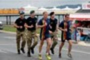 Royal Marines on a charity speed-march through Devon - catch them...