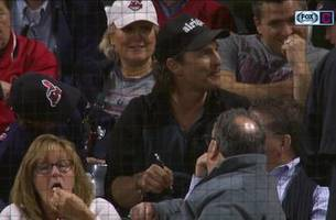 matthew mcconaughey takes in tribe game at progressive field