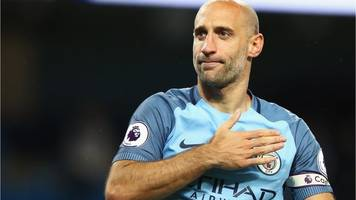 zabaleta given emotional man city send-off
