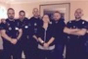Essex Police officers in Chelmsford shave their heads to support...