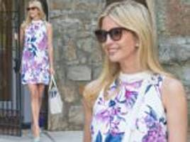 ivanka trump bares her legs in a floral dress