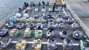 u.s. coast guard shows off $500m in cocaine from 20 seizures