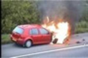 One lane closed on M6 as car catches fire