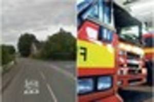 firefighters race to free trapped person after van crashes into...