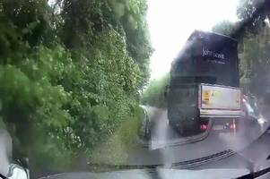 john lewis truck narrowly avoids cambridgeshire disaster after reckless overtake