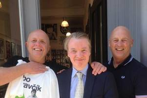 beaming craig whyte poses for picture with celtic fans during fraud trial lunch break
