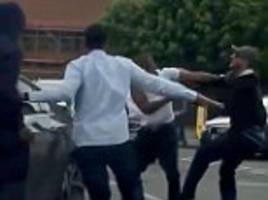 birmingham three-on-one road rage attack ends in brawl