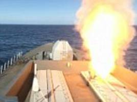 royal navy's £1billion warship shows its missile power