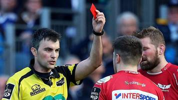 Watch as Scarlets wing Steff Evans is sent off for a tip tackle against Leinster