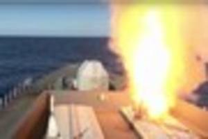 awesome navy missile takes down 500mph drone