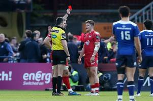 Wales wing Steff Evans could miss Wales' summer tour after being sent off in Scarlets' clash with Leinster