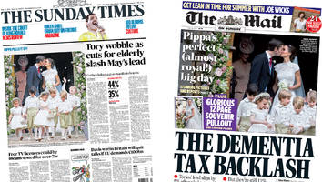 Newspaper headlines: Tory nerves 'jangling' and Pippa's big day