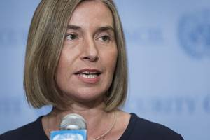 The Latest: Mogherini warns against US cuts in UN funding