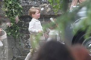 Pippa Middleton's pageboy Prince George throws royal tantrum as mum Kate tells him off outside church