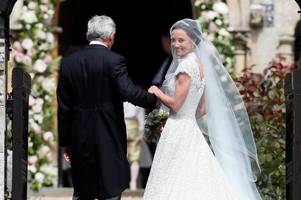 Pippa Middleton stuns in white wedding gown as she arrives at church in vintage car