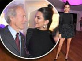 leggy kendall jenner delightedly chats to clint eastwood