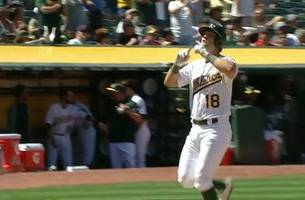 WATCH: Athletics' Chad Pinder hits a 470 ft. home run that is the longest of 2017