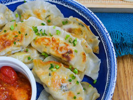 meatless monday: corn and potato potstickers with honey tomato dipping sauce