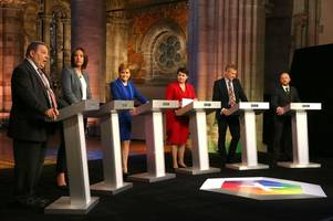scotland's political party leaders clash over independence and brexit during first live tv debate