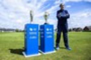 England stars show off women's World Cup cricket trophy on tour...