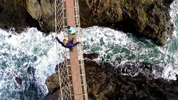 vandals cut rope on famous rope bridge