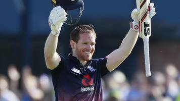 Watch: England's Morgan reaches century with a six