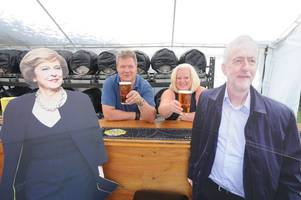 'theresa may' and 'jeremy corbyn' will be special guests at a cambridge beer festival