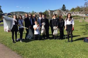 Dalbeattie High students help clean up Colliston Park as part of waste and recycling project