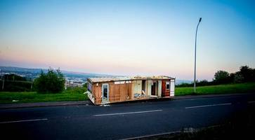 pictured: static caravan dumped on northern ireland road